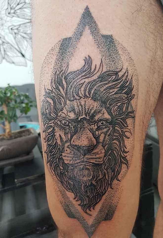 tatuajes-fuengirola-leon-puntillismo