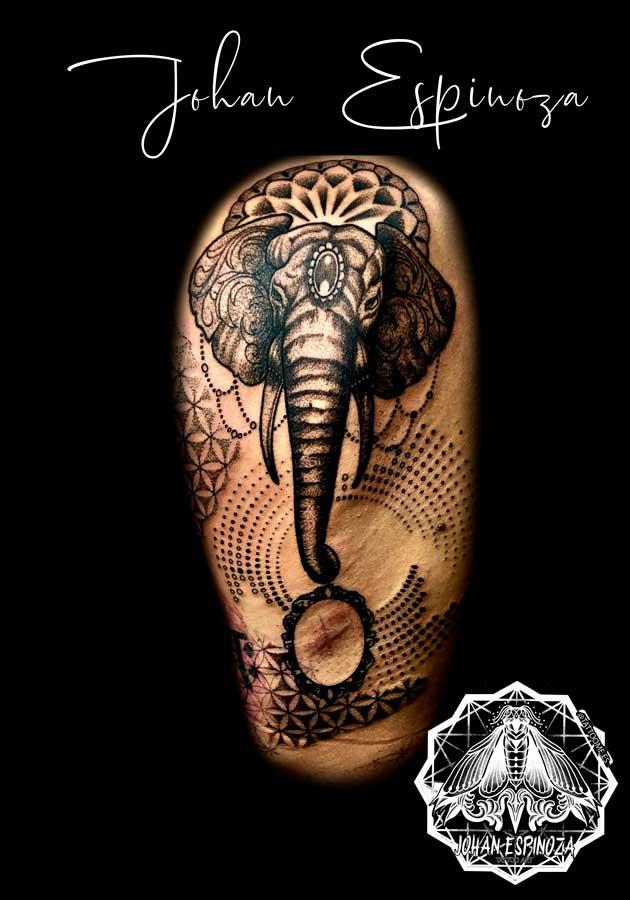 Elefante con mandala whipshade y puntillismo