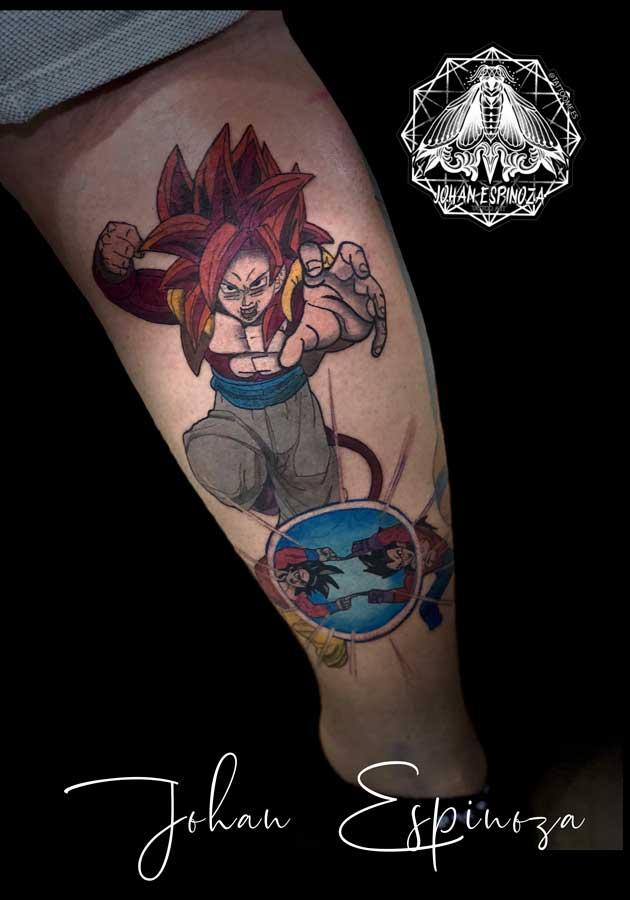Tatuaje de Goku en pierna
