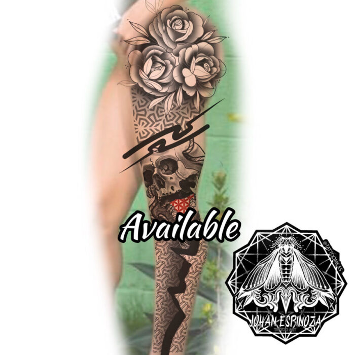 Diseño de tatuaje en pierna disponible