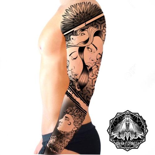 Diseño de tatuaje en hombro y brazo de retratos realistas