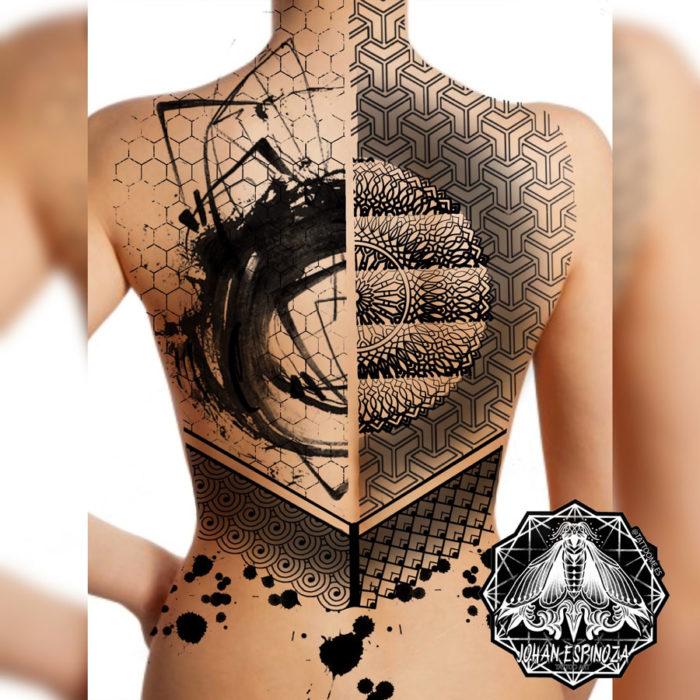 Geométrico a espalda completa